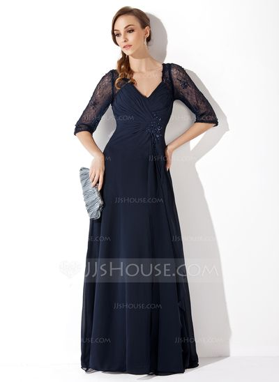 A-Line/Princess V-neck Floor-Length Ruffle Beading Sequins Zipper Up Sleeves 1/2 Sleeves No Dark Navy Spring Summer Fall General Plus Chiffon Lace Mother of the Bride Dress