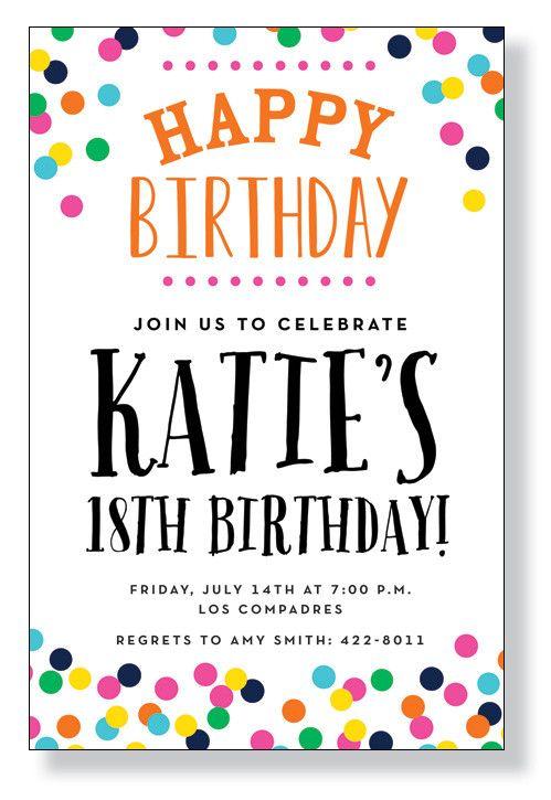 """""""Birthday Confetti"""" Invitations"""