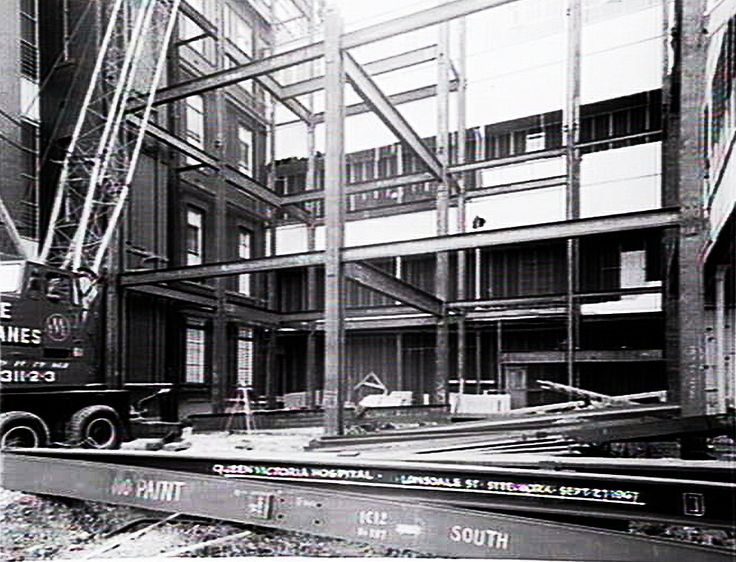 Steelwork during construction at Queen Victoria Hospital, Lonsdale Street, Melbourne in 1967. #queenvictoriahospital #hospital #building #construction #melbourne #australia #vintage #oldphoto