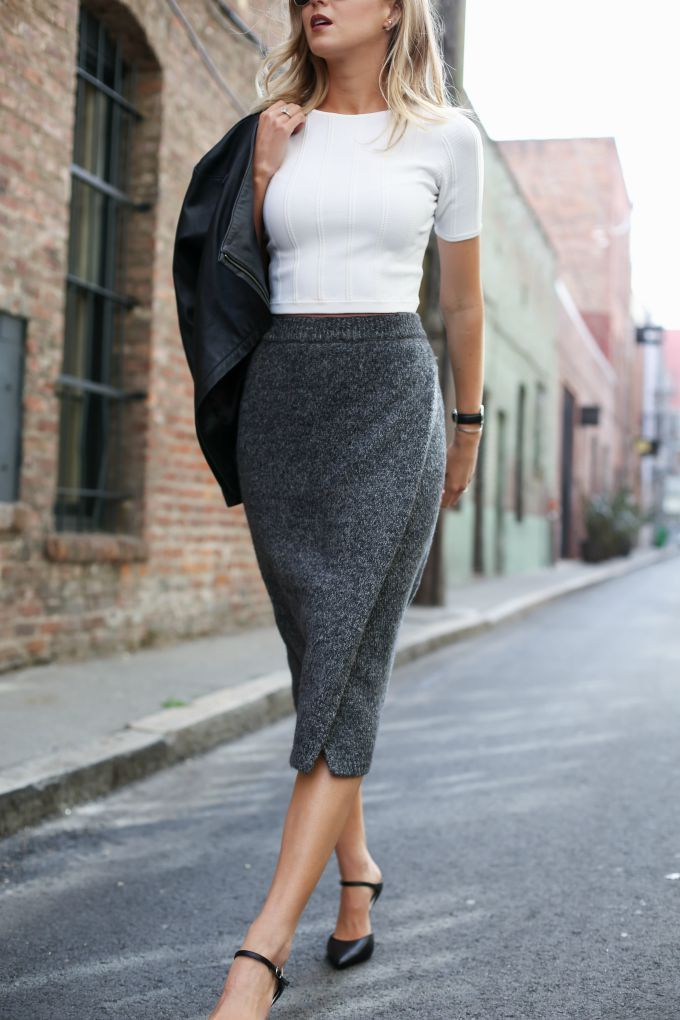 b club monaco heather grey midi knit pencil skirt