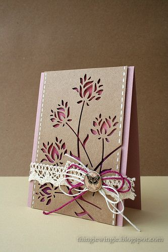 wonderful hand crafted card ... negative space die cuts of delicate Memory Box flowers ... kraft with purples ...