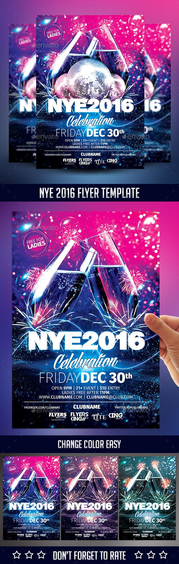 NYE 2016 Flyer Template PSD #design Download: http://graphicriver.net/item/nye-2016-flyer-template/13907171?ref=ksioks