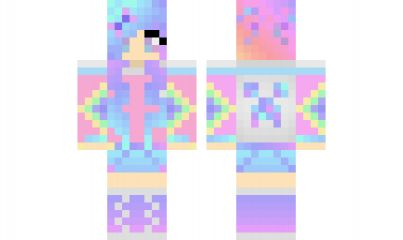 minecraft skin Rainbow-Creeper-Girl Find it with our new Android Minecraft Skins App: https://play.google.com/store/apps/details?id=the.gecko.girlskins
