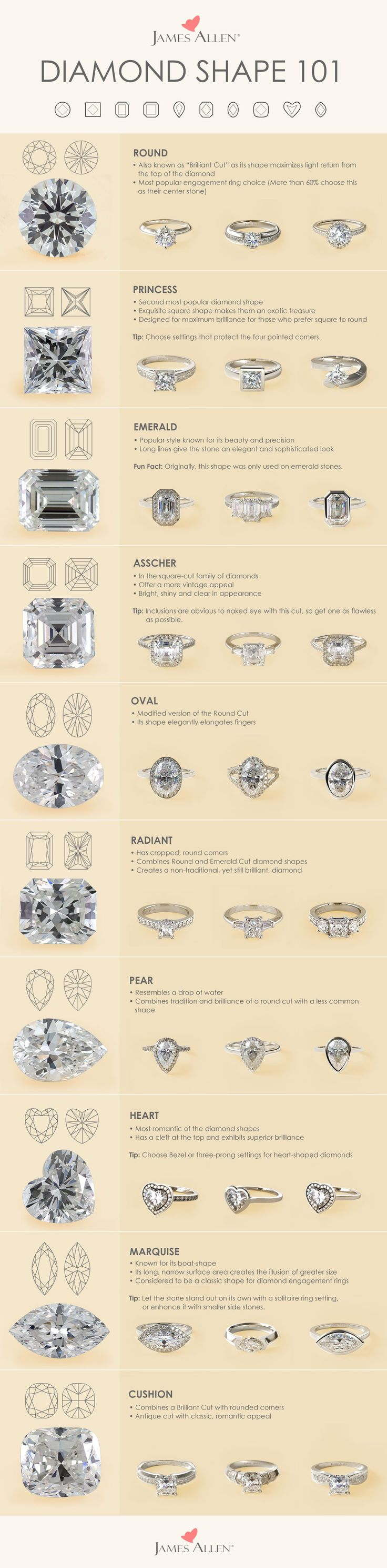 A shape for each type of engagement ring. Each diamond shape possesses its own unique qualities. James Allen offers the highest quality certified diamonds to satisfy all tastes. Browse these diamond shapes in 360° HD on jamesallen.com. #Jamesallenrings
