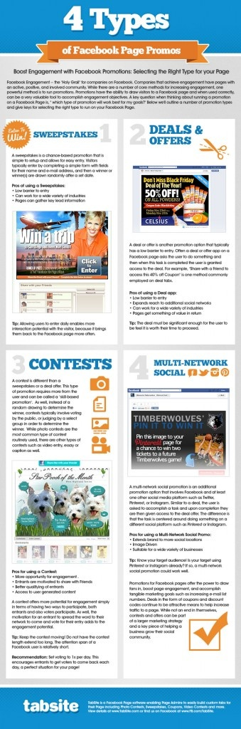Fresh on IGM > Facebook Page Promo Guide: Bringing people to a facebook fan page and getting them involved needs carefull and fine-cut content strategy. And with the edgerank algorithm lurking and manipulating user reach, the whole game turns into advertising bonanza for social marketers that want results in two twos. Facebook... > http://infographicsmania.com/facebook-page-promo-guide/
