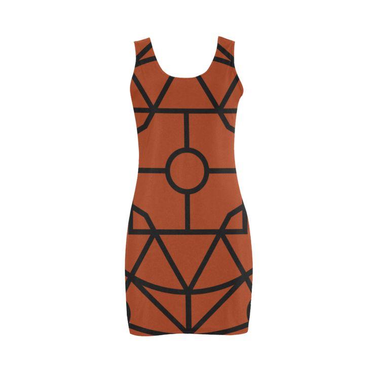 Original Designers dress : geometric art with brown 2016 Collection is here! Medea Vest Dress (Model D06)