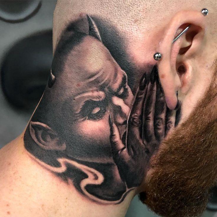 """Sir Focus auf Instagram: """"Der Teufel flüstert mir ins Ohr. #sirfocus @streetcitytattoos IST das Studio !! #toronto #mississauga #brampton #tattoo #tattoos # blackandgrey… """"   – Tattoo"""