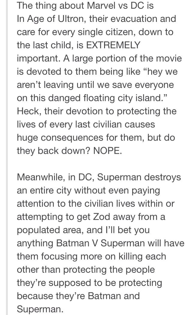 This post has too much DC hate for me, but the first part is completely true, I love how in Age of Ultron, they were so focused on saving innocent people and not leaving them behind!