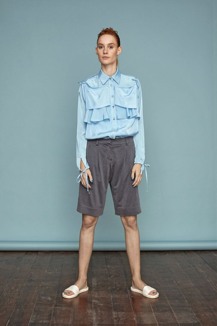 Light blue shirt with silk jersey loose fit shorts from Dori Tomcsanyi. #doritomcsanyi #ss15 #lookbook #collection #lightblue #silkjersey