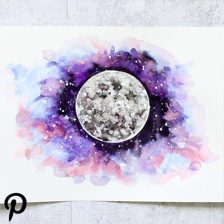 Galaxy Planeten Aquarell Watercolor Universe Moon Mars Venus