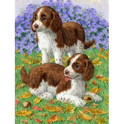 Caroline's Treasures Welsh Springer Spaniel Pups 2-Sided Garden Flag