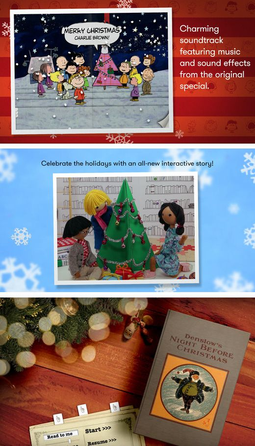 Educational Christmas apps for kids including A Charlie Brown Christmas with original soundtrack, The Night Before Christmas and A brand new holiday story from Windy & friends