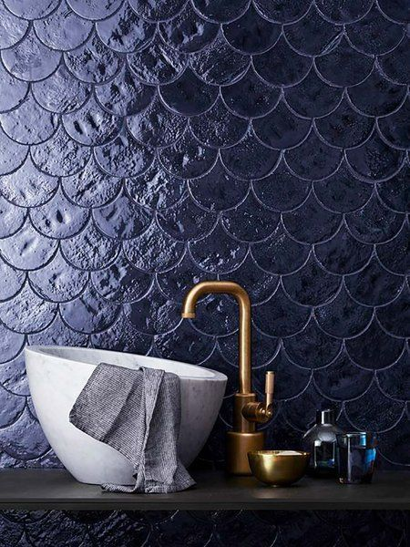 Mermaid tiles in dark blue pulling of purple