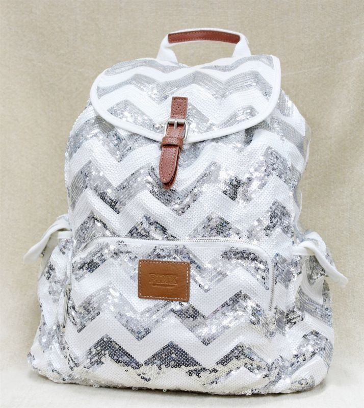 Victoria's Secret PINK Backpack Bling Chevron Sequin Silver Bag | <3