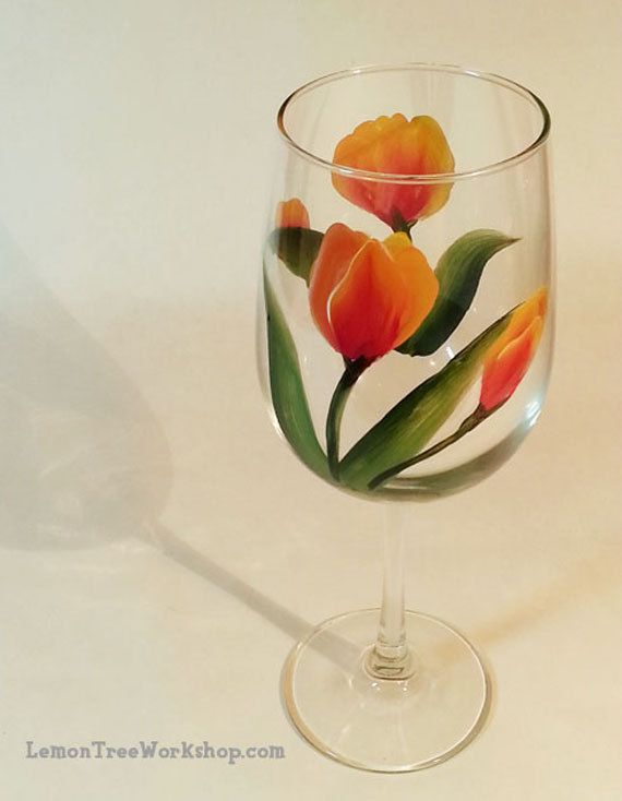 Tulip Hand Painted Wine Glass by LemonTreeWorkshop on Etsy