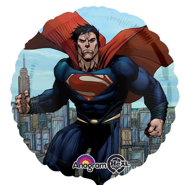 """Superman: Man of Steel Foil Balloon - Includes: (1) foil 18"""" balloon to match your party theme. Pattern is printed on both sides of the balloon - may have two different images on either side. (Please Note: Balloons ship flat.) This is an officially licensed DC Comics product."""