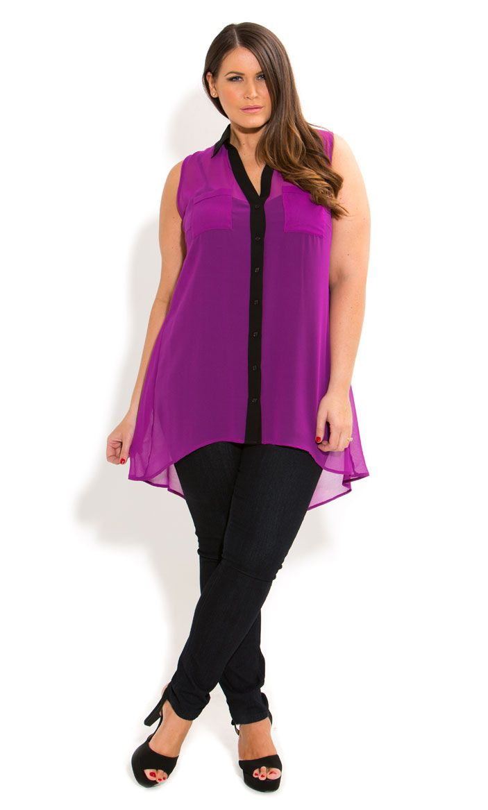 City Chic - HI LO COLOUR SHIRT - Women's plus size fashion