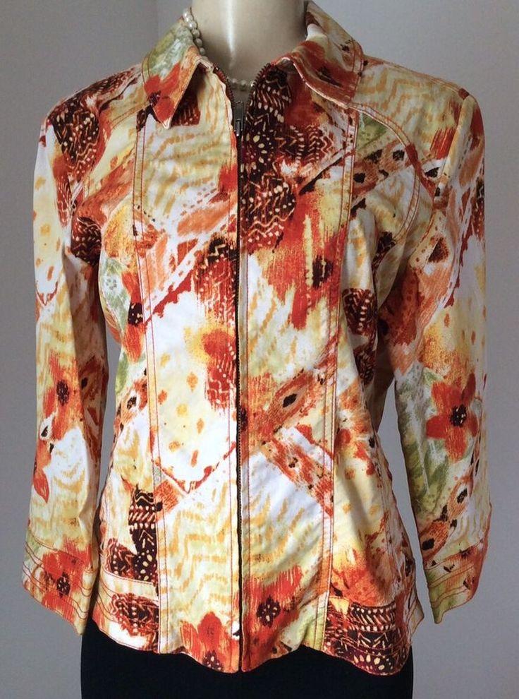 Chico's Size 1 (Medium) Orange Multi Color Zip Up Jacket Stretch Cotton GUC  | eBay