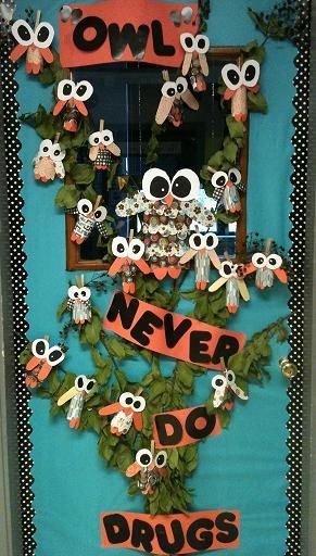 KJHS Classroom Door Decorations for Red Ribbon Week  #Red Ribbon Week   #Classroom  #owls  #drug free