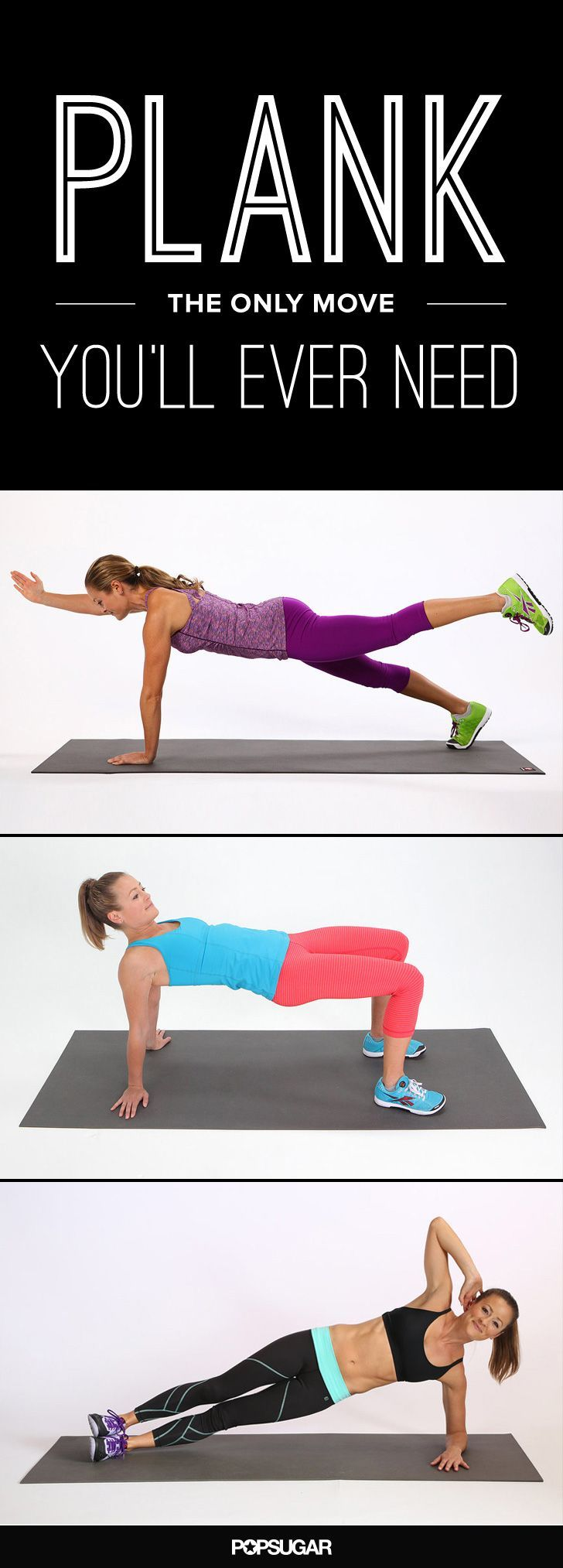 Short on time? Don't skip the strength-training session — get playful with the plank! By doing multitasking variations of this basic move, you can target your arms, back, core, legs, and booty to chisel out a stronger, more toned you.