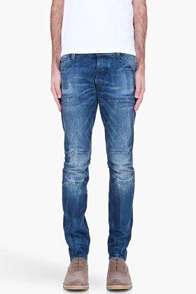 G-Star Blue 3d Super Slim Jeans for men | SSENSE