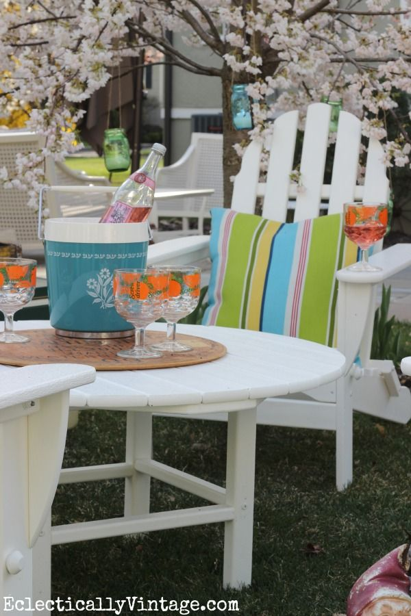 Recycled Plastic Adirondack Chair Set - so many colors and built to last! eclecticallyvintage.com