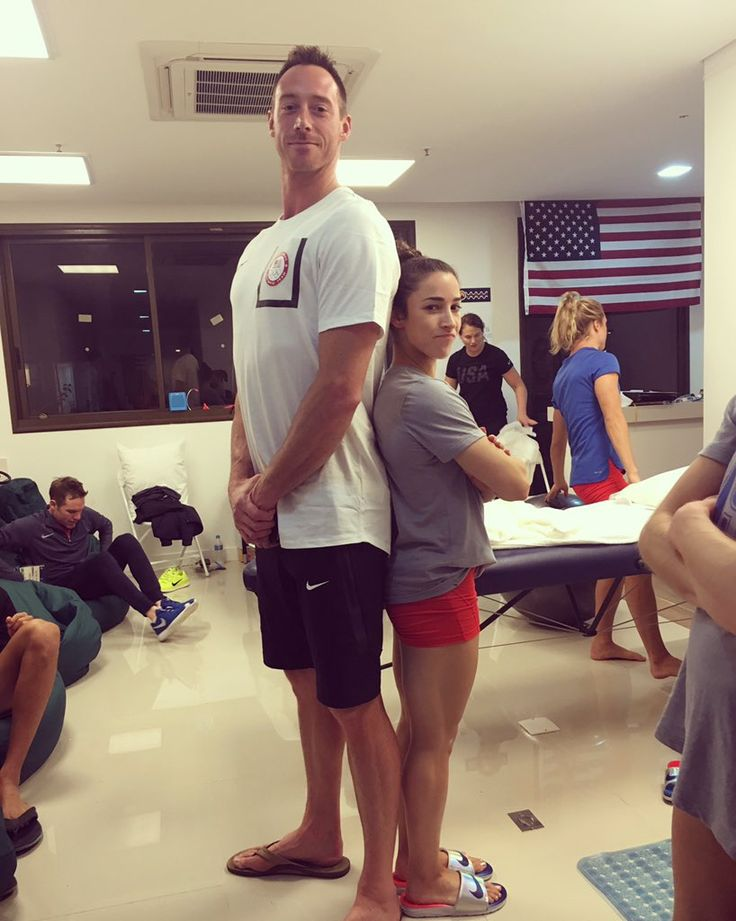 6 foot 8 compared to Aly Raisman #Riobound