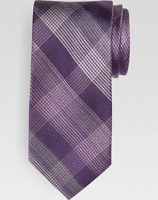 Joseph Abboud Purple Plaid Narrow Tie - Men's Regular Length Ties | Men's Wearhouse