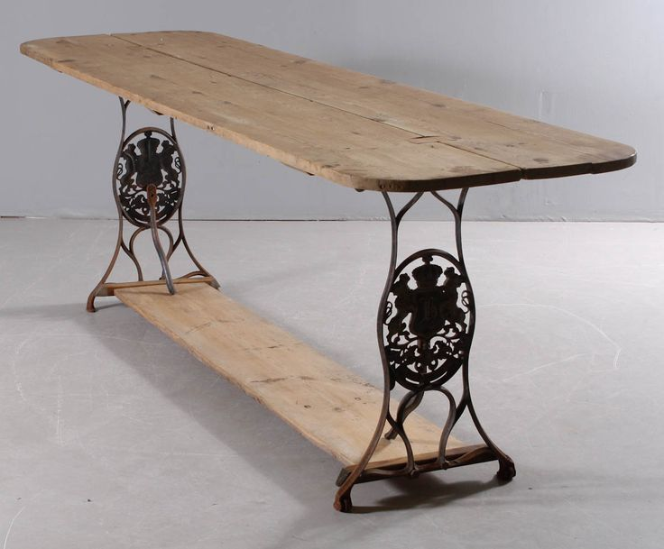 Planting or dinner Table - made of old Husqvarna sewing machine stand and recycled boards