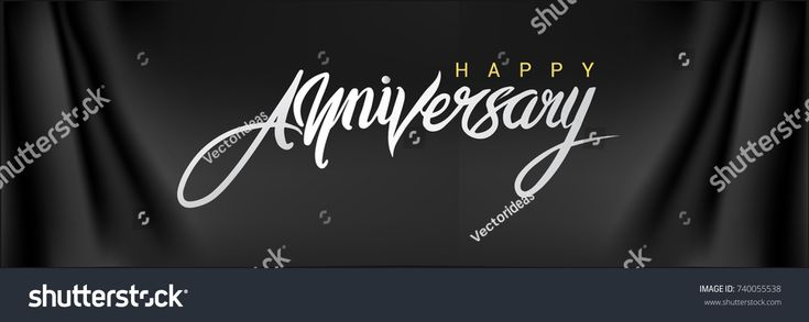 Happy Anniversary lettering text banner. Vector illustration.