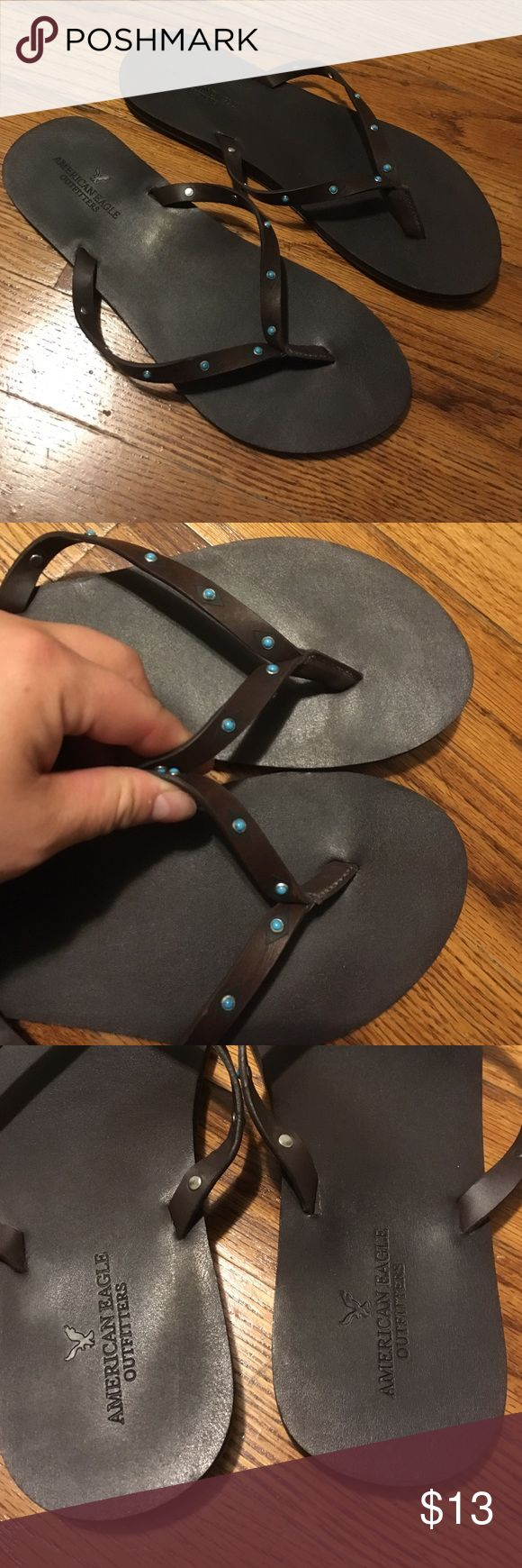 🇺🇸American Eagle🇺🇸 Flip Flops Only worn once for a couple hours. Practically new! Brown faux leather with turquoise stones on the straps American Eagle Outfitters Shoes Sandals