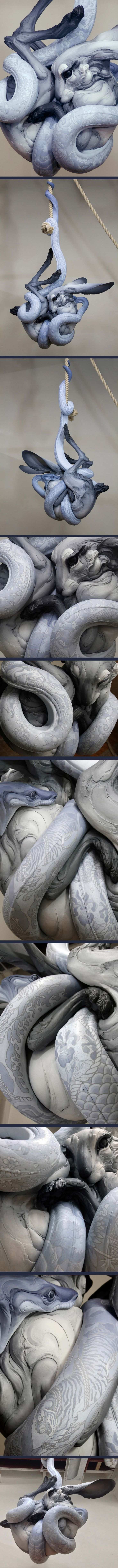 BETH CAVENER STICHTER | Tangled Up in You. Tattoos designed and painted by Alessandro Gallo. (Modern sculpture example)