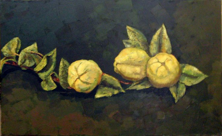 MEMBRILLOS (2000) By Maite Rodriguez  OIL ON CANVAS 61 X 38  Price 850.00 Euros
