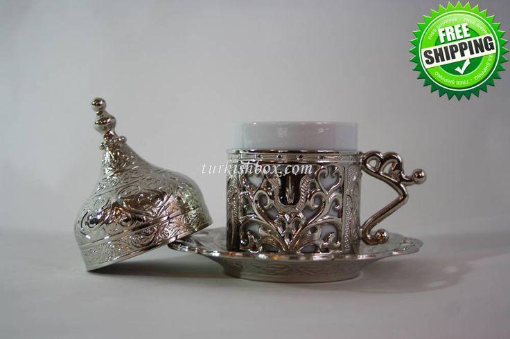 Turkish Coffee Cup   Tulip - Silver - http://turkishbox.com/product/turkish-coffee-cup-tulip-silver/  #turkishtowels #peshtemals #turkishproducts