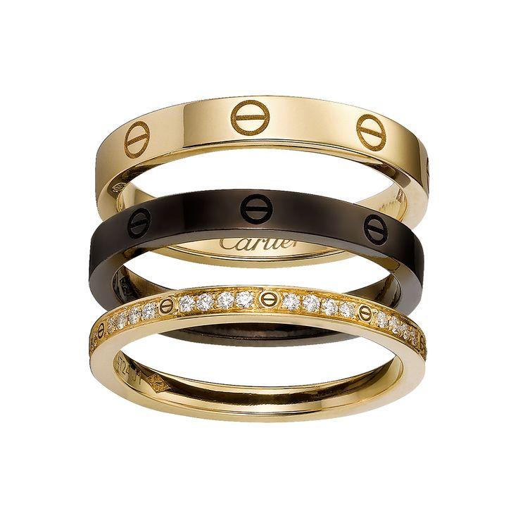 Anello LOVE, 3 fasce - Oro rosa, ceramica marrone, diamanti - Fine Anelli da donna - Cartier