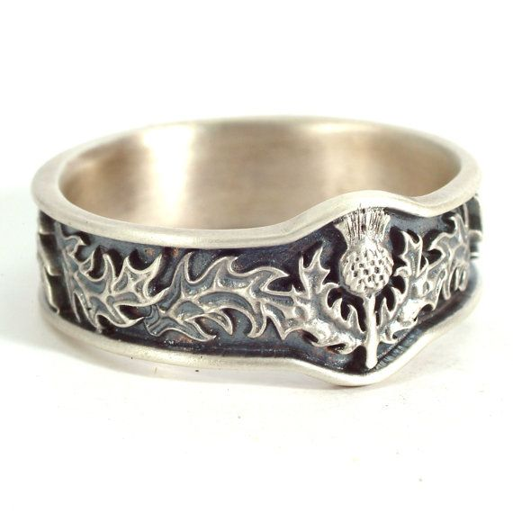 Scottish Bands: Scottish Thistle Jewelry, 925 Sterling Silver Thistle Ring