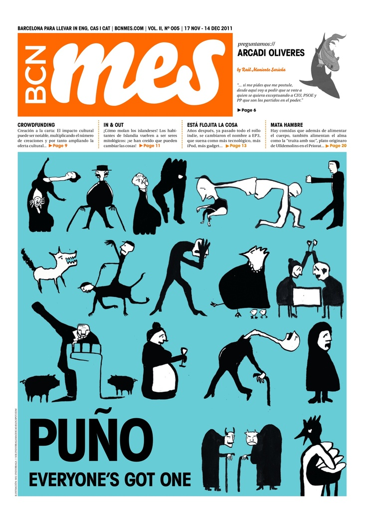 cover/portada de la edición de BCN Mes de nov de 2011 (Barcelona's alternative cultural newspaper). Illustration by Sol Undurraga (www.solundurragamachicao.blogspot.com).