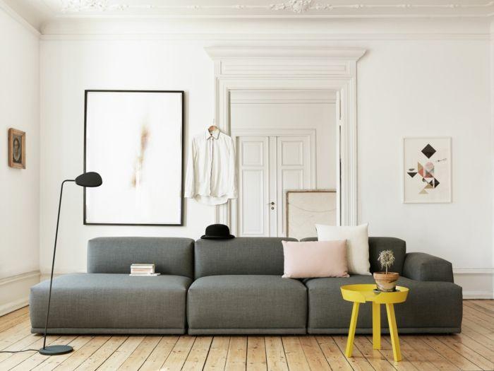Graues Sofa Gelber Beistelltisch Wohnzimmer Einrichten Ideen Weiße Wände