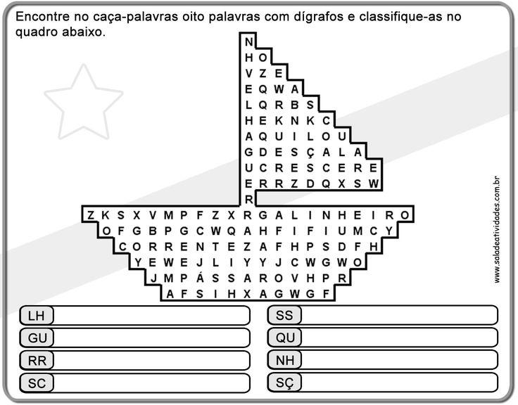 Atividades de português, atividades de encontro consonantal e dígrafo,