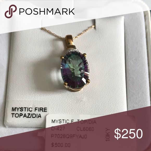 Mystic Fire Topaz in 10K Gold Setting Gorgeous Mystic Fire Topaz in 10K Gold Setting and 10K gold chain.  Comes new in the box with price tag.  Please only reasonable offers. Jewelry Necklaces #GoldJewelleryWithPrice