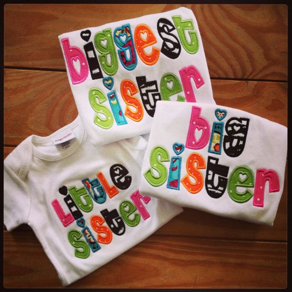 Add a Baby Brother onesie for CJ in boy colors! Set of 3 Appliqued Sister Shirts Little by christinamcdaniel, $65.00