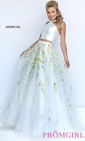 Ivory Two Piece Halter Floor Length Prom Dress with Lace Detailing by Sherri Hill at PromGirl.com