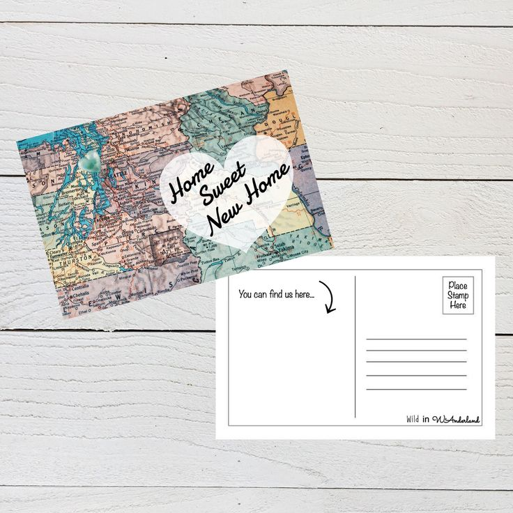 Home Sweet New Home, Just Moved Postcard, New Address Announcement, We've Moved, First Home, Moving Card, Digital Download, Postcard Set by WildinWAnderland on Etsy https://www.etsy.com/listing/526231190/home-sweet-new-home-just-moved-postcard