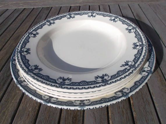 set of dishes old shabby chic land of iron Salins Parmentier 4 plates and 1 plate model & 159 best Vaisselle Française Ancienne / French Vintage Dinnerware ...