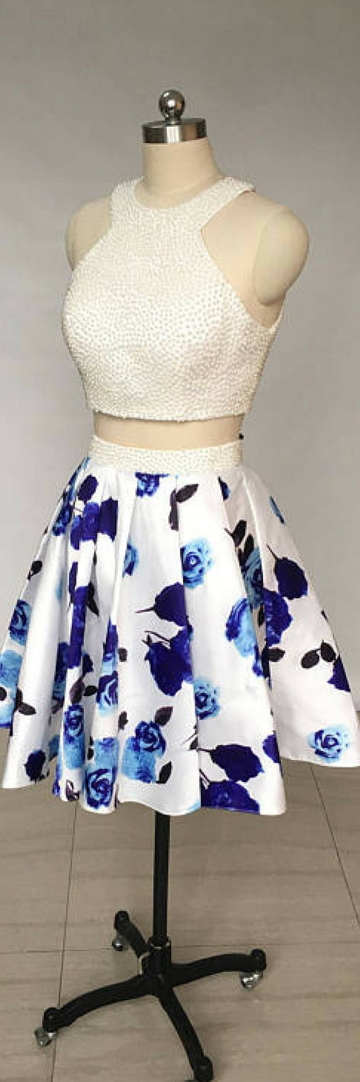 Two Piece Ivory Floral Print Satin Short Homecoming Dress – My HoCo Dresses Ideas