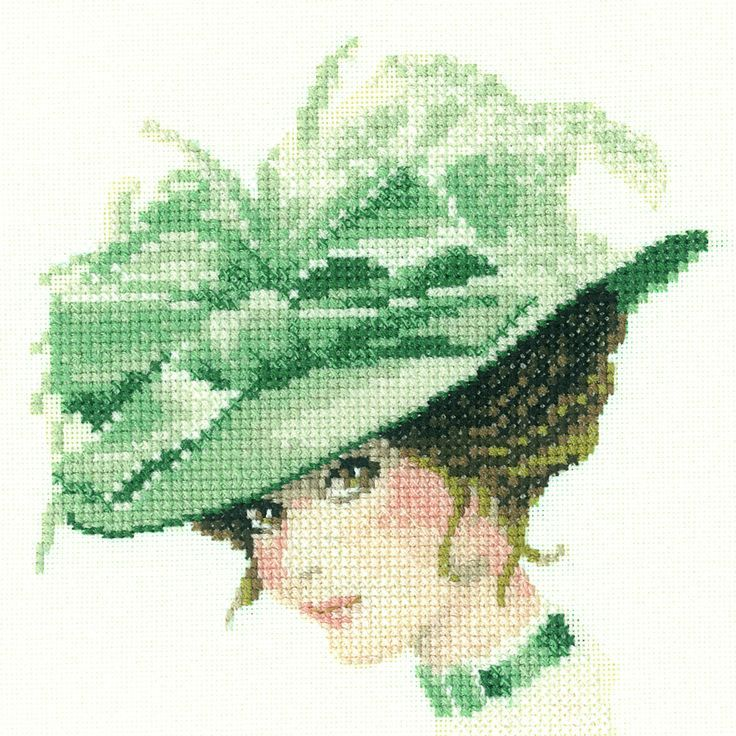 0 point de croix femme romantique chapeau vert - cross stitch romantic lady with…