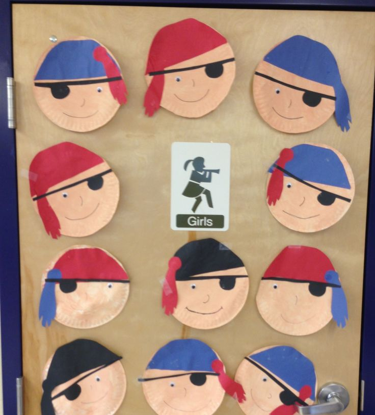 my kids made pirates faces out of paper plates and colored paper for a kids project in my classroom this week... Perfect for out theme, treasure island! -K