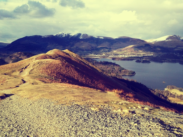 The view from Catbells, a Lakeland Fell walk in Cumbria.