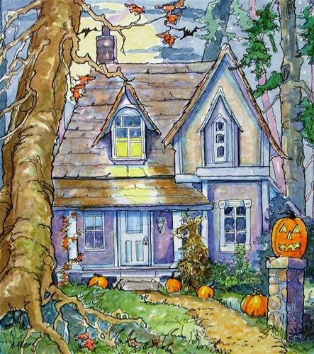 """Just Waiting for Halloween Storybook Cottage Series"" - Original Fine Art for Sale - © Alida Akers"