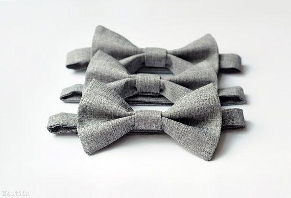 Boys three grey bow ties / grey cotton bow tie / bow bandeau / wedding ring bearer birthday / baby boy photo prop / Set of 3 / infant bowtie